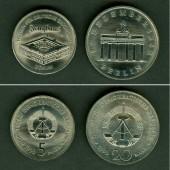 Lot: DDR 2x  5 + 20 Mark Gedenkmünzen BERLIN 1990  st