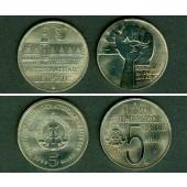 Lot: DDR 2x 5 Mark Gedenkmünzen  ST  [1978-1984]