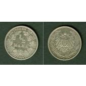 Deutsches Reich 1/2 Mark 1908 J  ss