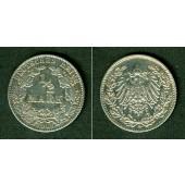 Deutsches Reich 1/2 Mark 1908 D  ss
