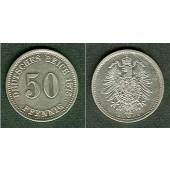 DEUTSCHES REICH 50 Pfennig 1875 B (J.7)  vz-st/vz