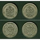 Lot: DEUTSCHES REICH  2x 25 Pfennig 1910 A + F