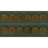 Lot: DEUTSCHES REICH  6x 1 Pfennig  [1890-1909]