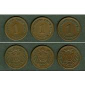 Lot: DEUTSCHES REICH  3x 1 Pfennig  ss+  [1899-1901]