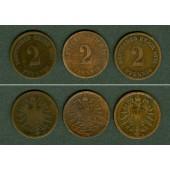 Lot: DEUTSCHES REICH  3x 2 Pfennig  [1873-1876]