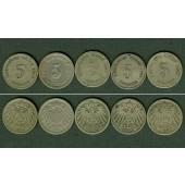 Lot: DEUTSCHES REICH  5x 5 Pfennig  [1890-1899]