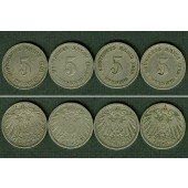 Lot: DEUTSCHES REICH  4x 5 Pfennig  [1901-1904]
