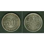 DEUTSCHES REICH 50 Pfennig 1877 F (J.7)  ss+  selten