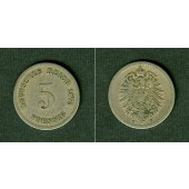 DEUTSCHES REICH 5 Pfennig 1875 H (J.3)  ss-  selten