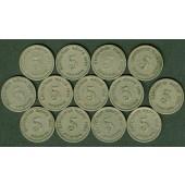 Lot: DEUTSCHES REICH  13x 5 Pfennig  ss  [1890-1914]