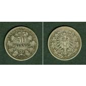 DEUTSCHES REICH 50 Pfennig 1877 D (J.8)  f.ss