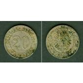 DEUTSCHES REICH 20 Pfennig 1887 F (J.6)  ss-vz