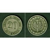 DEUTSCHES REICH 20 Pfennig 1888 D (J.6)  ss