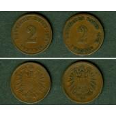 Lot: DEUTSCHES REICH  2x 2 Pfennig (J.2)  selten  [1874-1875]