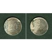 DEUTSCHES REICH 20 Pfennig 1877 F (J.5)  (ss+)  selten