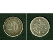 DEUTSCHES REICH 20 Pfennig 1873 B (J.5)  s-ss  selten