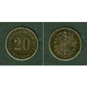 DEUTSCHES REICH 20 Pfennig 1873 F (J.5)  s-ss  selten