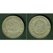 DEUTSCHES REICH 20 Pfennig 1887 A (J.6)  ss