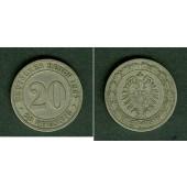 DEUTSCHES REICH 20 Pfennig 1887 G (J.6)  ss  selten