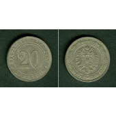 DEUTSCHES REICH 20 Pfennig 1887 J (J.6)  ss-vz  selten