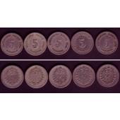 Lot: DEUTSCHES REICH  5x 5 Pfennig (J.3)  s+  [1874-1889]