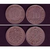 Lot: DEUTSCHES REICH  2x 10 Pfennig (J.4)  ss-  [1874-1888]