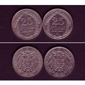 Lot: DEUTSCHES REICH  2x 25 Pfennig (J.18)  1910 A J  ss-vz