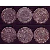Lot: DEUTSCHES REICH  3x 25 Pfennig (J.18)  ss  [1911-1912]