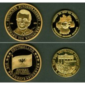 Lot: DEUTSCHLAND 2x Medaille vergoldet Weizsäcker + 9.Nov.1989  PP/ST