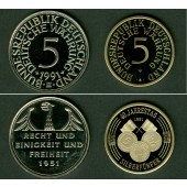 Lot: DEUTSCHLAND 2x Medaille  40 Jahre Deutsche Währung 1991  PP