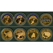 Lot: DEUTSCHLAND 4x Medaille  ECU EURO vergoldet  PP  [1999-2001]