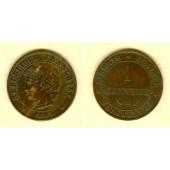 FRANKREICH 1 Centime 1893 A  ss+  selten