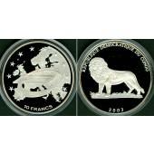 KONGO / CONGO 10 Francs 2003  Löwe  SILBER  selten!  PP