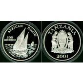 TANZANIA 500 Shillings 2001  SILBER / SILVER  PP