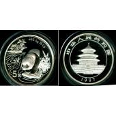 CHINA 5 Yuan 1997 1/2 oz. SILBER / SILVER  Panda  PP  selten!