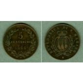 SAN MARINO 5 Centesimi 1864 M  ss+  selten