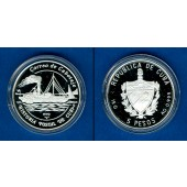 KUBA / CUBA 5 Pesos 1993  Schiffsmotiv  SILBER  PP