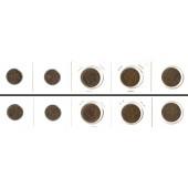 Lot:  SCHWEIZ 5x Münzen  1 + 2 Rappen  [1941-1962]