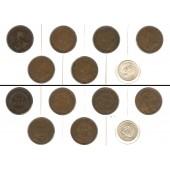 Lot:  AUSTRALIEN 7x Münzen  Penny + Shilling  [1911-1952]
