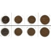 Lot:  AUSTRALIEN 4x Münzen  1/2 + 1 Penny  [1912-1917]