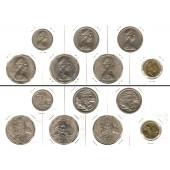 Lot:  AUSTRALIEN 7x Münzen  10 20 50 Cents 2 Dollars  [1969-1988]