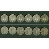 Lot:  USA  6x Dime / 10 cents  SILBER  [1942-1945]