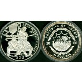 LIBERIA 20 Dollars 2000  Olympia Sydney  SILBER  PP