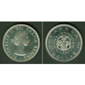 CANADA / KANADA 1 Dollar 1964 Quebec  SILBER  vz-st (PP)  selten
