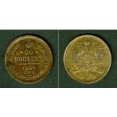 Russland 20 Kopeken 1907 SPB  vz+
