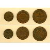 Lot:  RUSSLAND / RUSSIA  3x Kopeken Kleinmünzen  ss+  [1904-1910]