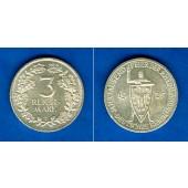 DEUTSCHES REICH 3 Reichsmark (Jahrtausendfeier) 1925 E (J.321)  vz/f.vz  selten