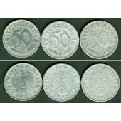 Lot  DEUTSCHES REICH 3x 50 Reichspfennig (J.372) 1942 B D E  ss