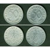 Lot  DEUTSCHES REICH 2x 50 Reichspfennig (J.372) 1940 D G  ss