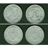 Lot  DEUTSCHES REICH 2x 50 Reichspfennig (J.372) 1941 E J  ss